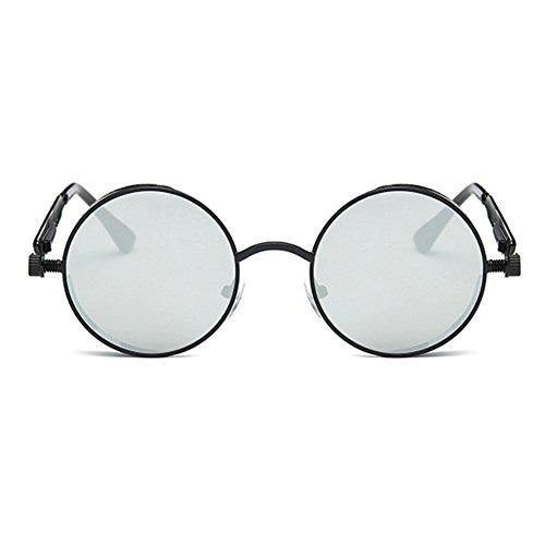 Hommes UV400 Rétro Miroir Steampunk Lunettes Gothique C5 pour Métal de Cercle Ronde Femmes Lunettes soleil Vintage Juleya Z8HgqpTx