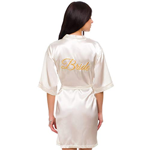 INeedThisRobe Satin Embroidered Kimono Robe for Bride, Bridesmaid, Maid of Honor (Ivory - Bride in Gold, - Womens Embroidered Robe
