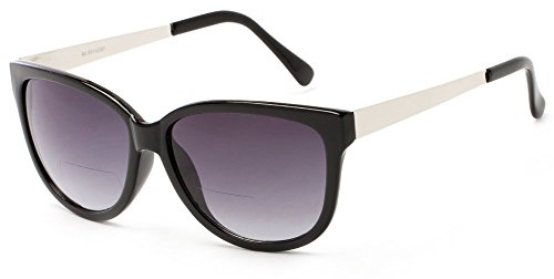 Readers.com The Penelope Bifocal Sun Reader +2.50 Black/Silver with Smoke Bold Patterned Bifocal Cheater Sunglasses for Women Cat Eye Reading - Cheaters Sunglasses