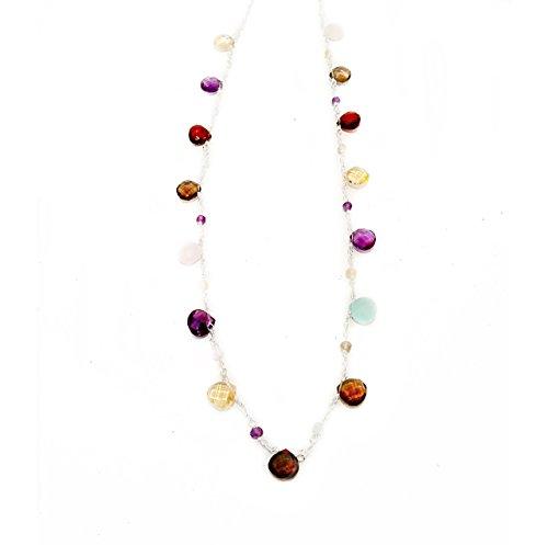 Aqua Quartz Briolette Necklace - Mixed Faceted Semi-Precious Gemstones and 925 Sterling Silver Chain Necklace
