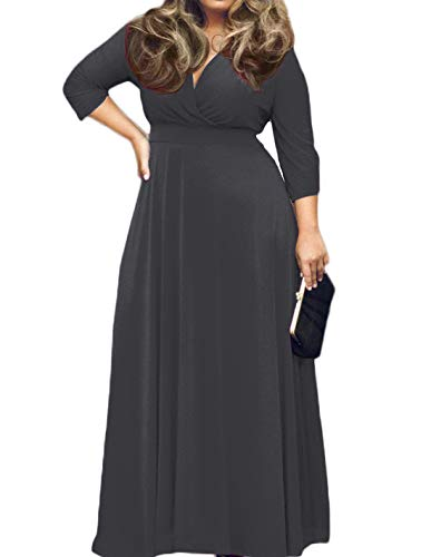 Womens Party Rayon Dress (POSESHE Women's Solid V-Neck 3/4 Sleeve Plus Size Evening Party Maxi Dress (4 Plus, 01 Dark Grey))