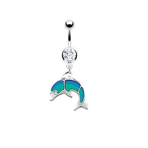 MsPiercing Navel Ring With Dangling Glossed Dolphin Dangling Dolphins Belly Button Ring