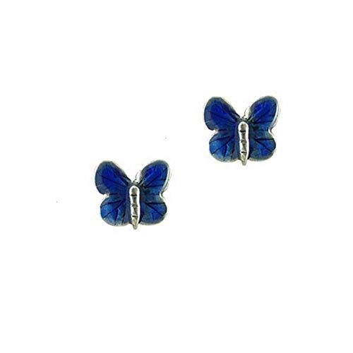 Enamel Blue Butterfly Post Earrings by The Magic (Blue Enamel Butterfly Post Earrings)