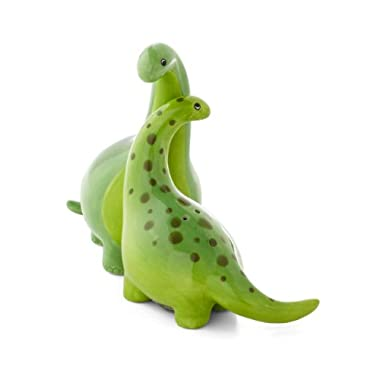 Green Brontosaurus Dinosaur Salt & Pepper Shaker Set, 3.75 Inches, Ceramic