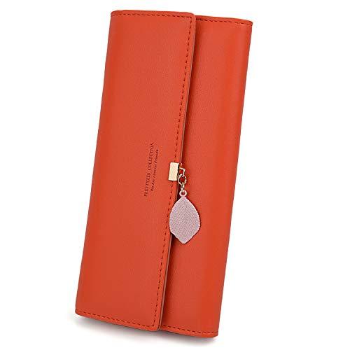Checkbook Organizer Wallet - UTO Women PU Leather Wallet Large Capacity Leaf Pendant Card Phone Holder Checkbook Organizer Zipper Coin Purse Orange