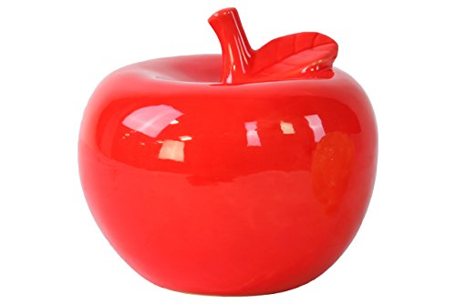 Ceramic Red Apple - Urban Trends Ceramic Apple Figurine, Large, Gloss Red