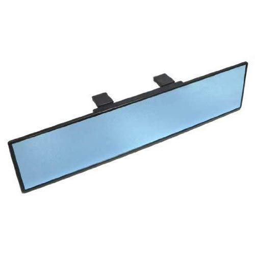 iJDMTOY Universal Fit JDM 300mm 12' Wide Anti-Glare Blue Tint Flat Clip On Rear View Mirror For Car SUV Van Truck, etc iJDMTOY Auto Accessories Inside Anti Glare Less Blind Spot Mirror