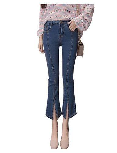YFLTZ Pantalon Jeans Femme Taille Plus - Couleur Unie Basique Taille Haute Blue