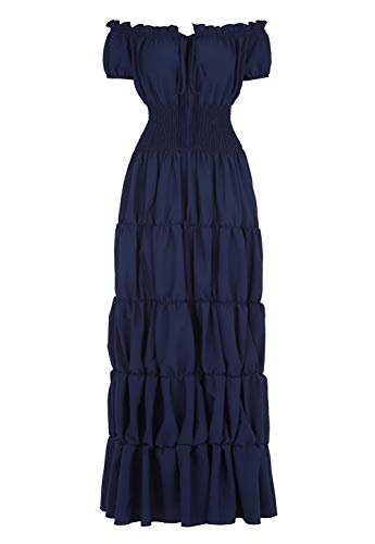 Haoaugut Women Renaissance Medieval Irish Costume Over Dress Smocked Waist Retro Gown Cosplay Indigo 2XL -