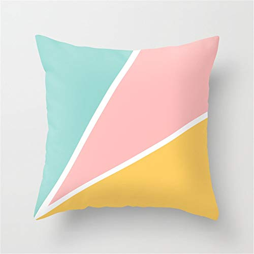 Jay94 Tropical Summer Pastel Pink Turquoise Yellow Color Block Geometric Pattern Throw Pillow Case Cushion Cover 18 X 18 inches