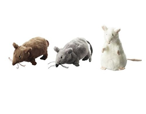 (Set of 3 - Ikea Gosig Mus Rat Mouse Stuffed Animal Soft Toy, White, Brown, Grey, 5 1/2