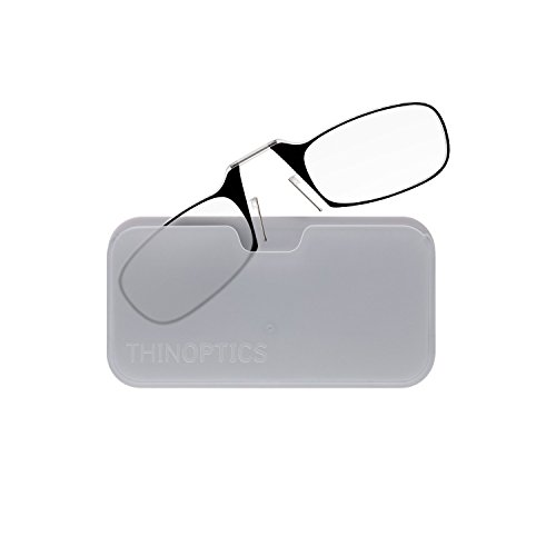 (ThinOptics Reading Glasses + White Universal Pod Case | Classic Collection, Black Frames, 1.00 Strength)