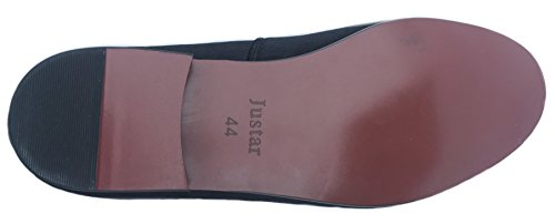 Mocassini Justar Mens In Velluto Nero Mocassini Slip-on Con Plateau Nero Con Fibbie In Oro
