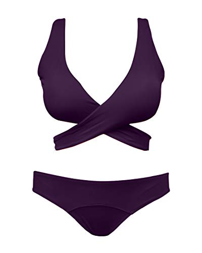 - SHEKINI Women's Criss Cross Bikini Push-up Halter Bandage Swimsuits Wrap Suits (Deep Purple, X-Large)