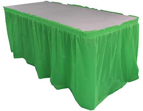 Exquisite Solid Color 14 Ft. Plastic Tablecloth Skirt, Disposable Plastic Tableskirts - Emerald - 6 Count (Green Table Skirt Plastic)