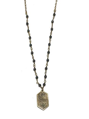 Madison Sterling 4110 (Isaiah 41:10), Solid Bronze Medal with Beaded Gold Tone Necklace, App. 30