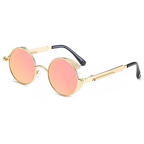 Polarized sol Steampunk Rosa Retro Gafas Metal Highdas Circle de Barbie hombres Estilo Oro Mujer Round xT4qZzYw