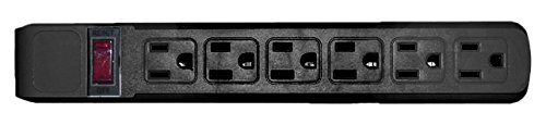 C&E Surge Protector, Flat Rotating Plug, 6 Outlet, Horizontal Outlets, Plastic, Power Cord, 15 Feet - Black, CNE470868