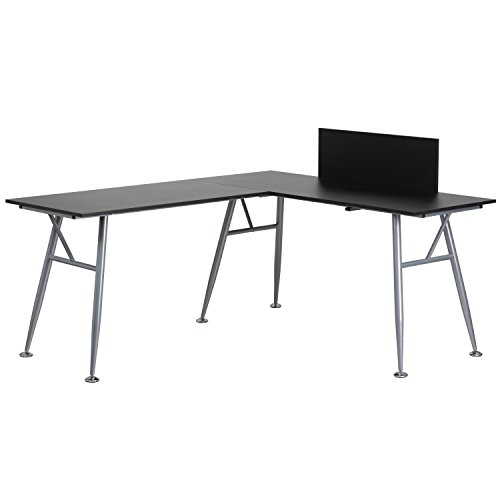 Flash Furniture Black Laminate L-Shape Computer Desk with Silver Frame Finish (Galant Table)