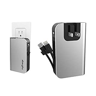 myCharge Portable Charger for iPhone Built in Cable Power Bank Fast Charging Hub 10050 mAh Lightning, Micro USB, Wall Plug USB Battery Pack External Cell Phone Backup, 55 Hrs Power