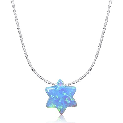 """- Simulated Blue Opal Star of David Charm Pendant Solid Sterling Silver 16"""" inch Cardano Chain Necklace"""