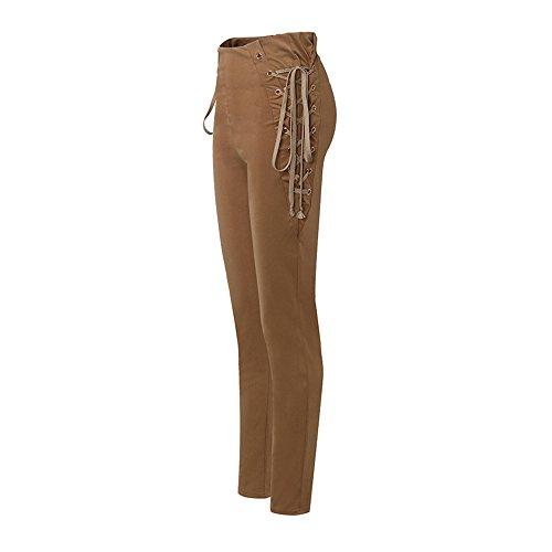 4dccec4454f3c VONDA Pantalon Femme Taille Haute Slim Fit Bandage à Côté Fermeture ...