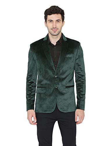 WINTAGE Men's Cotton Velvet Solid Party Blazer : Green, -