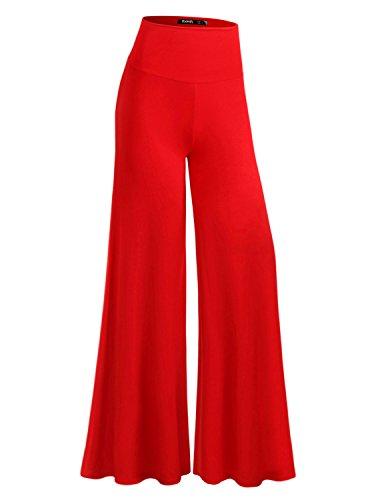 TWINTH Capri Pants Plus Size Long Leg Wide Pants Chic RED 2XL