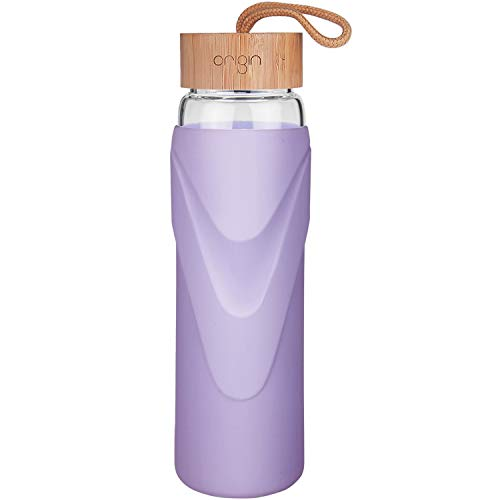 ORIGIN - Best WIDEMOUTH BPA-Free Glass Water Bottle With Protective Silicone Sleeve and Bamboo Lid - Dishwasher Safe (Lavender, 32 Ounce)