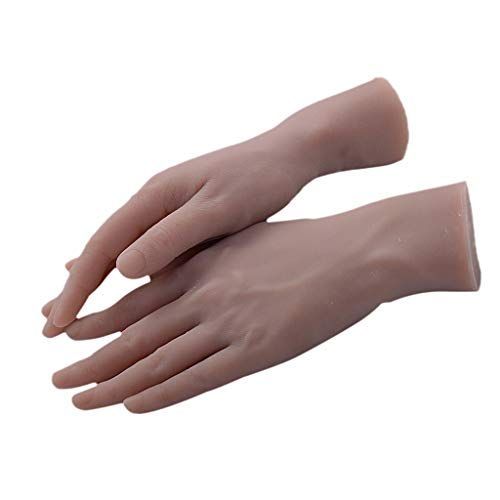 B Blesiya 2x Nail Art Soft Practice Hands Flexible Silicone Prosthetic Hands Manicure Tools - Fingers can be Bent - Reusable, Convenient for Use -