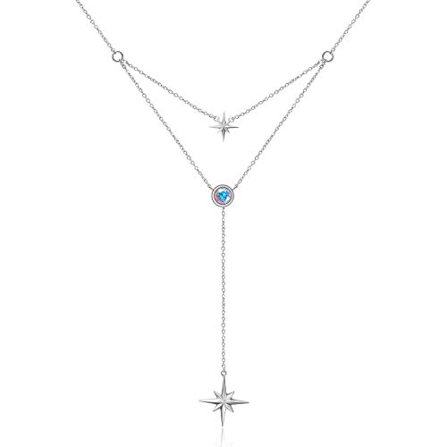 WINNICACA North Star Necklace Sterling Silver Layered Star Choker Necklaces for Women Girls Gifts,Crystal from Swarovski