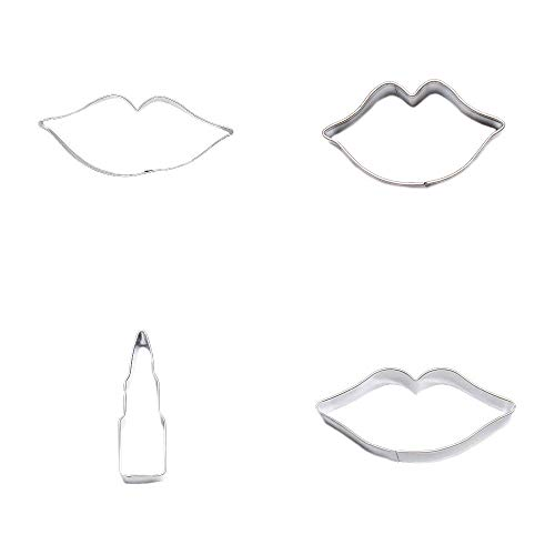 4 Metal Cookie Cutter Set Lips Labium Lipstick Biscuit Pastry Fondant Gingerbread Cake Mold (Lipstick Gingerbread)