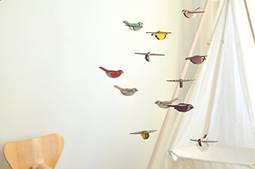 Flying High Bird mobile large - wooden mobile - nursery mobile by Asymmetree
