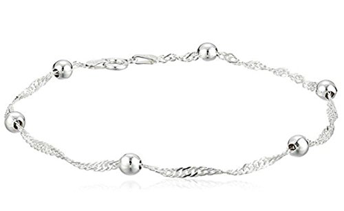 - 1pc Sterling Silver Anklet Bracelet Singapore - 10 inch Cute Chain 3mm Ball Gifts for Women Girls SSA6-B