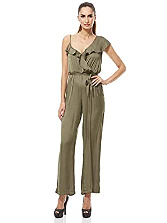 Bardot Loose Jumpsuit For Women - Olive,10 UK