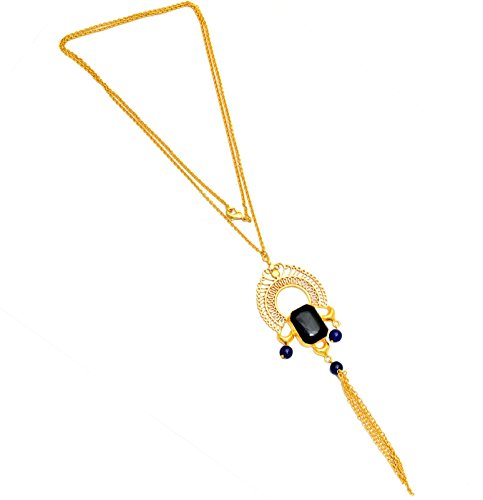 Women's Geniune Black Onyx Lapis Chain Tassel Long Lariat Necklace Filigree Style 18 K Gold Plated Handmade Statement Jewelry, ()