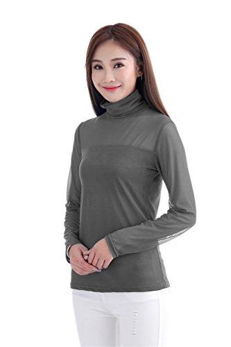 GladThink Mujer musulmán Camiseta Manga larga Cuello alto Gris