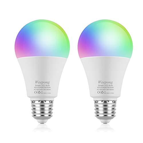 - Weepong 9W Wifi Smart Light Bulb, RGBW Color Change LED Light Bulb Compatible with Alexa Google Home Siri IFTTT(No Hub Required), Dimmable Multicolor Light Bulb, A19 E26/E27 80W Equivalent (2 pack)