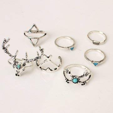 7Pcs Bohemia Vintage Christmas Deer Turquoise Ring Knuckle Rings Rings Knuckle /& Sets Silver