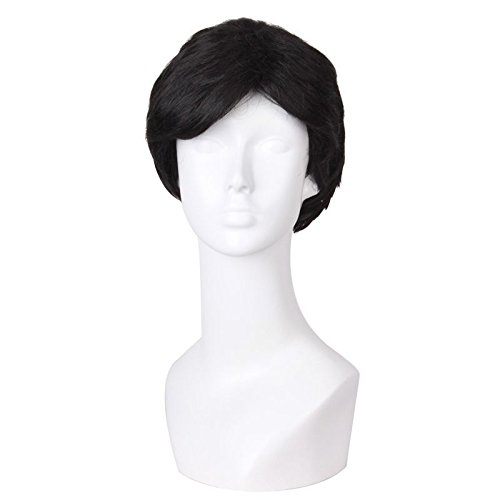 The new middle-aged men wig Business elderly father head inclined bang short straight hair wig lifelike 61134 ()