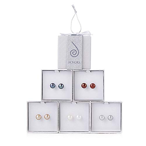 Honora Cultured Pearl Set of 5 9.0mm Boxed Stud Earrings classic colors ...