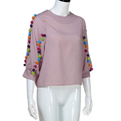 Pull Top Sport Basique Femme Rose Sweats Femmes Hauts Guesspower Chemise Tops Solide Chemisier Casual Manches Shirts Longues Chemiser Blouse Simple AOvwxx5Uq6