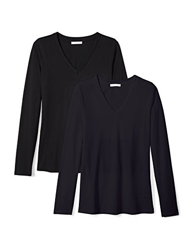 Daily Ritual Womens Lightweight 100% Supima Cotton Long-Sleeve V-Neck T-Shirt, 2-Pack