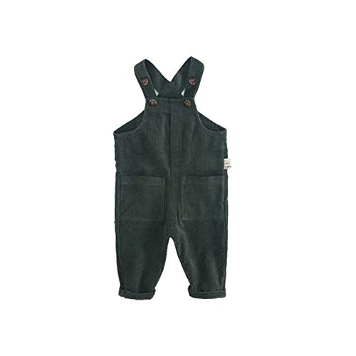 (Fairy Baby Toddler Baby Unisex Casual Corduroy Bib Overall Solid Bottom Suspender Pants Size 6-9M (Dark Green))