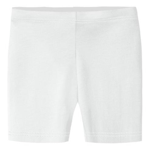 (City Threads Little Girls Underwear Bike Shorts in All Cotton Perfect for SPD and Sensitive Skin Sports Dance School Uniform, White)