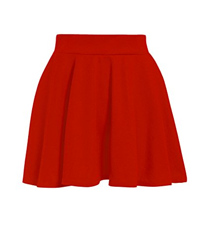 - GUBA Girls Children Back to School HIGH Waisted Stretch Plain Flippy Flared Short Skater Skirts Size 5-13 Years (Red, 7-8 Years)