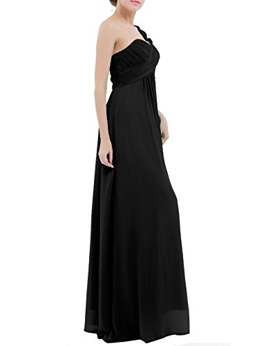 Flowers Shoulder Black with Women's Chiffon Dress Long YiZYiF One Prom 1OEx8
