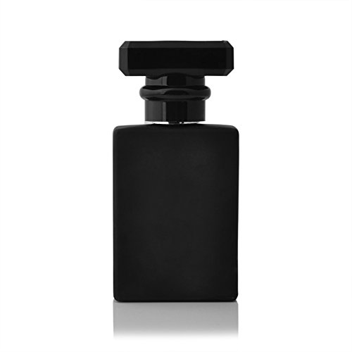 Enslz 30ML Portable Transparent Glass Perfume Empty Bottle Refillable Atomizer With Aluminum Cosmetic Case For Travel (black)
