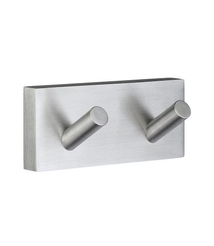 Smedbo RS356 Bathroom House Double Towel Hook Brushed Chrome by Smedbo