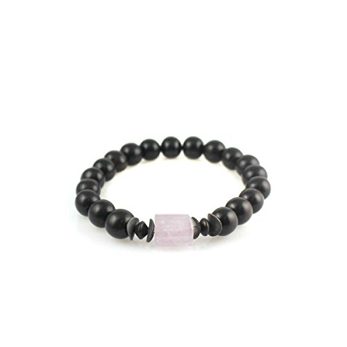 Zen Series: Mala Bracelet With Rose De France, Black Ebony, Black - Rose Ebony